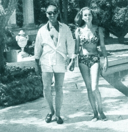 "David and Hjordis Niven. Poolside at Lo Scoglietto. David: ""I don't like bikinis, all those acres of flesh."""