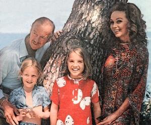 David, Fiona, Kristina and Hjordis Niven. Cap Ferrat, 1971