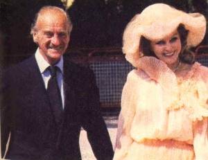 David and Hjordis Niven at Princess Caroline's wedding, July 1978