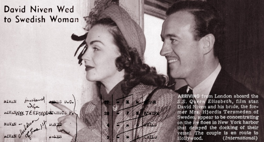 Hjordis and David Niven, January 1948