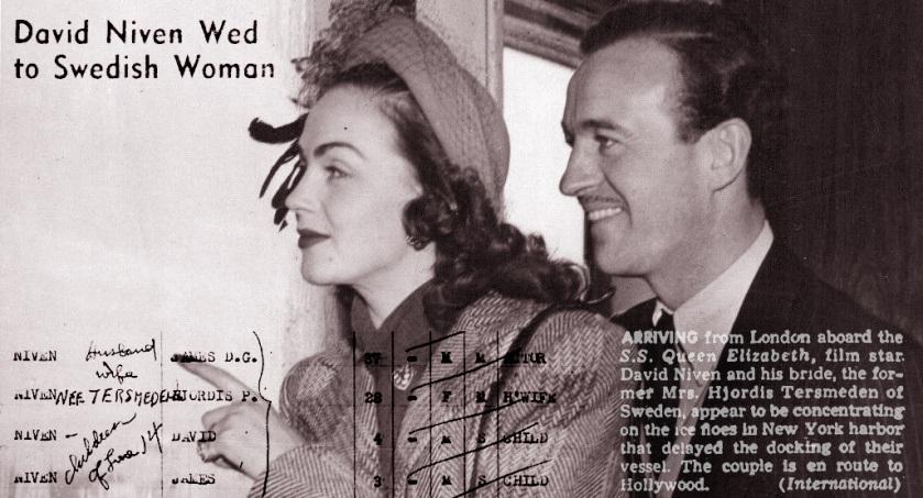 Hjordis and David Niven, January 1948