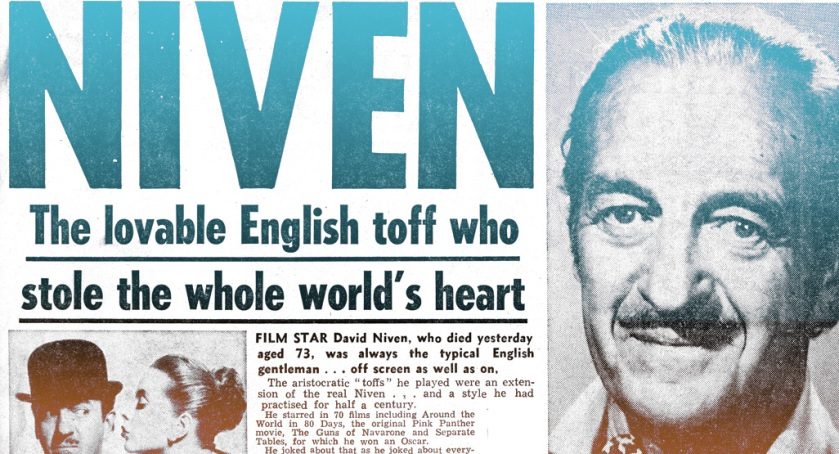 News of David Niven's death, UK, 30th July 1983