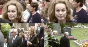Hjordis Niven at David's funeral, 2nd August 1983