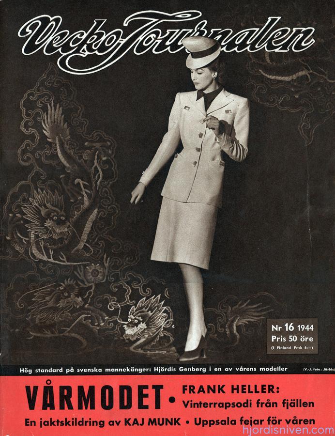 Hjördis Genberg on the cover of Vecko Journalen. Sweden, 1944