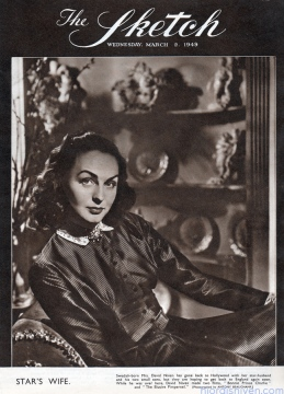 Hjördis Niven on the cover of Sketch magazine, March 1949