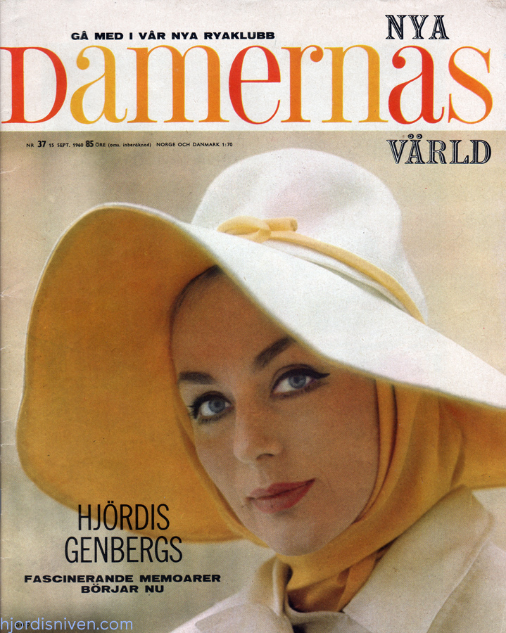 Hjördis Niven on the cover of Damernas Varld. Sweden, 1960
