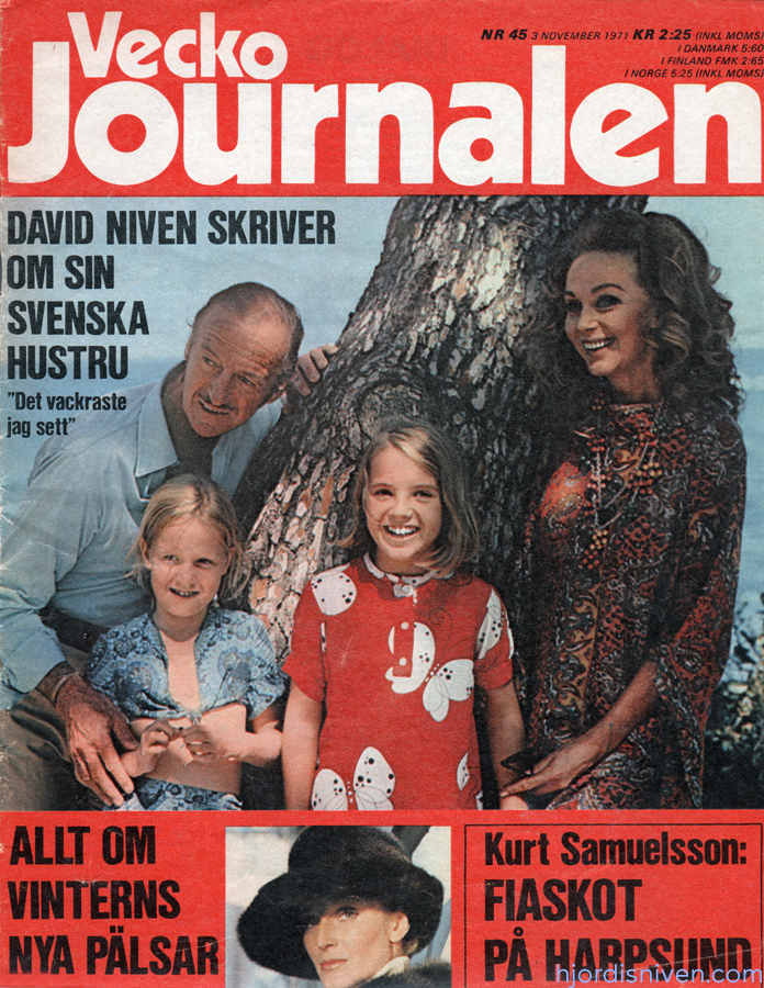 Hjördis Niven on the cover of Vecko Journalen. Sweden, 1971