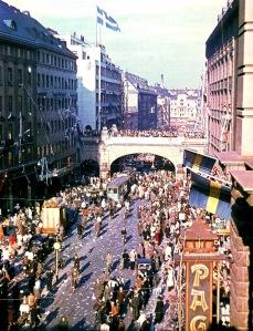 Kungsgatan, Stockholm. VE Day, 8th May 1945