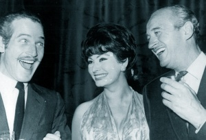 Paul Newman, Sophia Loren and David Niven, 1965. So, how did Paul Newman stick his moustache on? Do you really want to know?