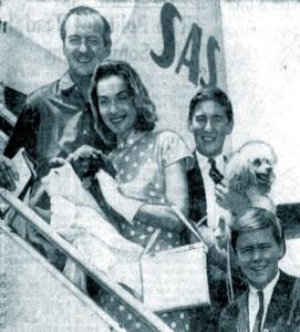 The Niven family leave Copenhagen for Los Angeles, 1958