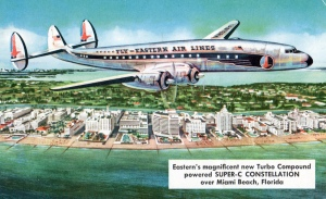 Lockheed Constellation flying over Miami Beach, late 1940s