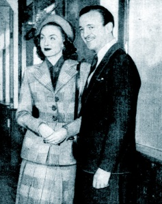 Hjordis and David Niven on the voyage to New York, January 1948