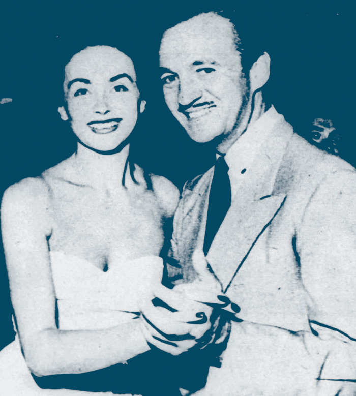 """November 1949. """"David Niven and his wife Hjordis, who seldom flit to Hollywood nigh-spots, take to the floor at Mocambo."""