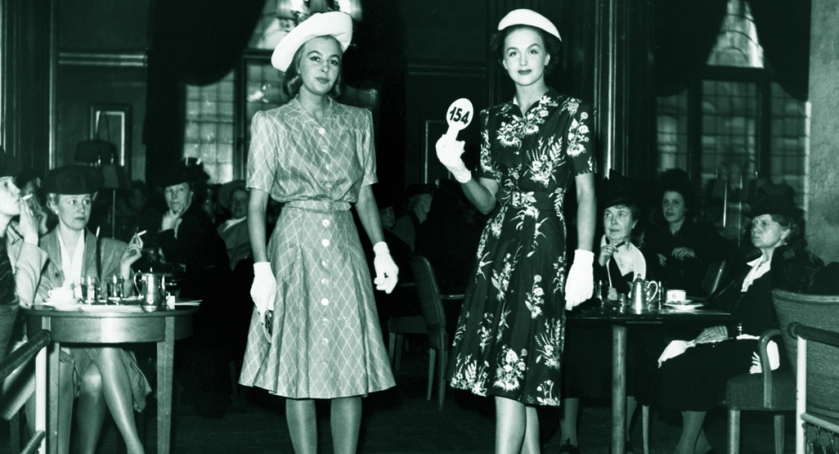 NK Franska models Miss Hammarström and Miss Genberg, 1944. (Does anyone know Miss Hammarström's first name?)