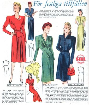 1944 Swedish dress patterns