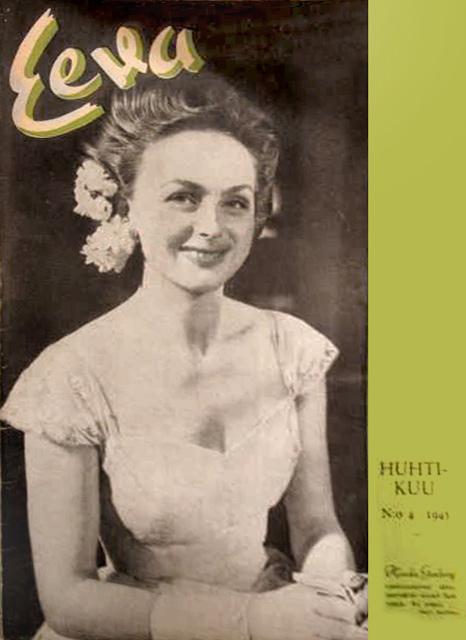Hjordis Genberg on the cover of Eeva magazine. Finland, 1945