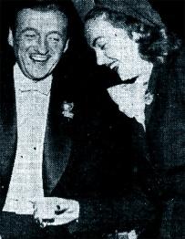Hjordis Niven visiting David on the set of 'Enchantment', October 1949