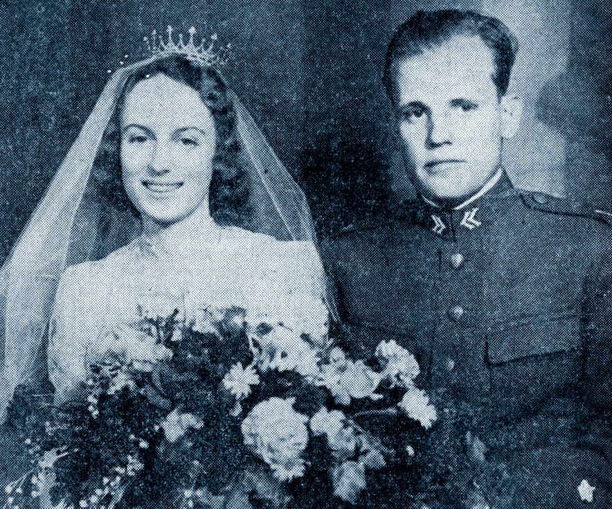Carl Gustaf Tersmeden with his first wife on their wedding day.