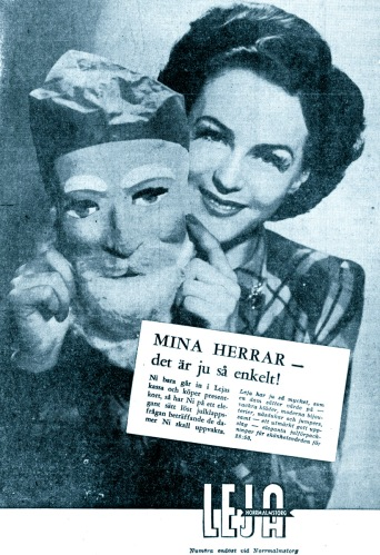 Hjördis Genberg with freaky Father Christmas mask, December 1942