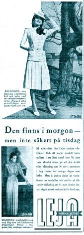 Hjördis Genberg, Leja's top model at work in May 1942