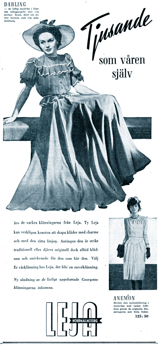 Hjördis Genberg, Leja's top model at work in May 1942