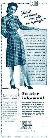 Hjördis Genberg modelling in a Leja store advert, November 1942