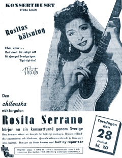 A promotional advert for one of Rosita Serrano's first shows in Sweden. January 1943