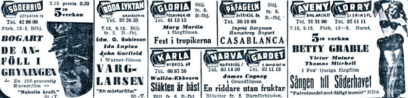 Cinema adverts in Stockholm, March 1944