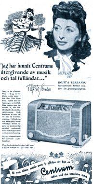 Swedish radio advert, 1944. Endorsed by Rosita Serrano