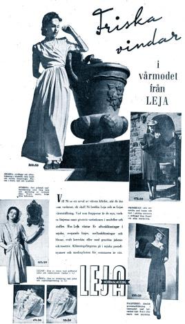 Hjördis Genberg modelling for Leja in April 1942