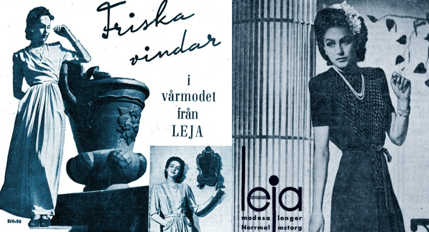 Hjördis Genberg modelling for Leja, Stockholm. 1942-1943