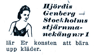 Hjordis Genberg, Vi Damer magazine advert, 3rd December 1945