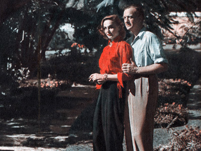 Hjördis and David Niven at home in Pacific Palisades, c.1949