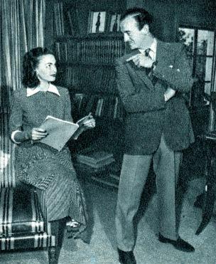 Hjördis and David Niven at home in Pacific Palisades, c.1949