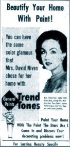 Hjordis Niven advertising house-paint in February 1958.