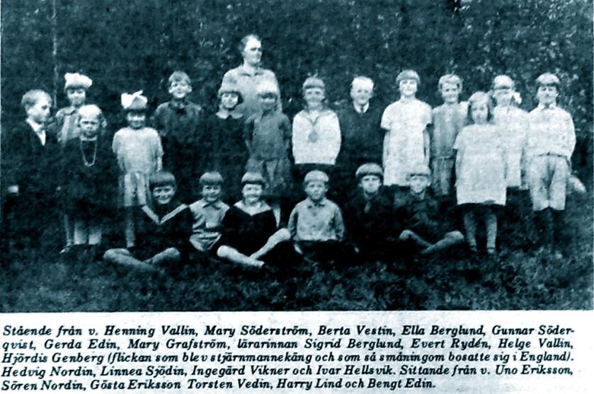 Hjördis Genberg`s school class in Salsåker, 1927
