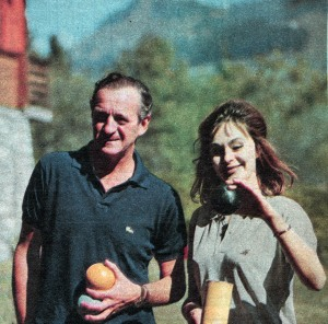 David and Hjördis Niven in the garden of their chalet in Chateau D'Oex, 1961.