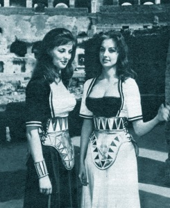 Pia and Mia Genberg in their movie costumes at the Colosseum in Rome.