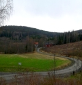 The road to Hjordis' school (pictured in the distance).
