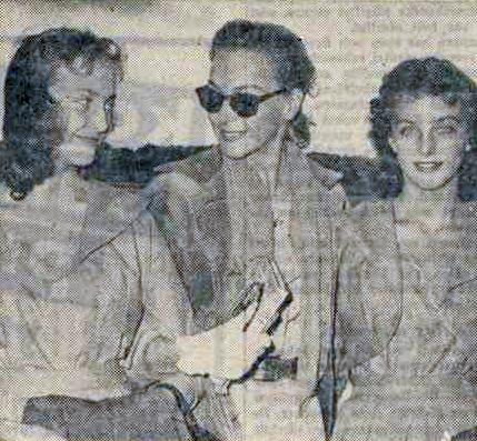 Maj-Lis Genberg, Aunt Hjordis, and Gudrun Genberg, at Bromma airport1957